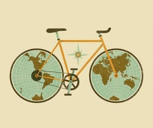 world, travel, and bike image