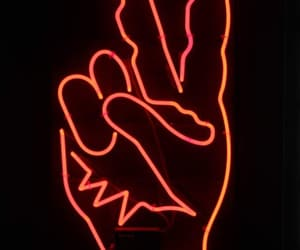 hand, neon sign, and ☮ image