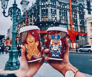 christmas, hot chocolate, and city image