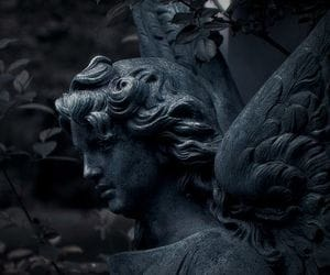 cemetery, dark, and statue image