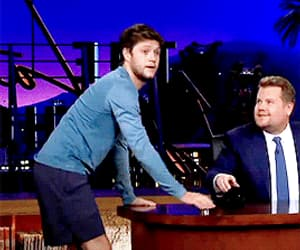 blue, james corden, and one direction image