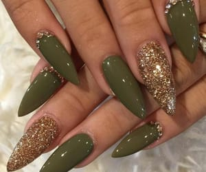 nails, green, and gold image