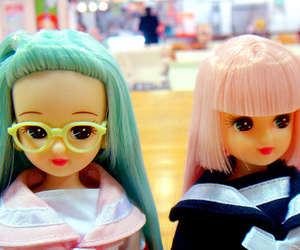 dolls, glasses, and green image