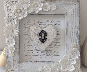 lace, white, and shabby chic frame image