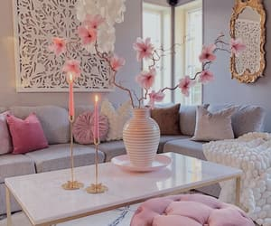 decor, pink, and flowers image