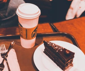 chocolate cake, coffee, and starbucks image