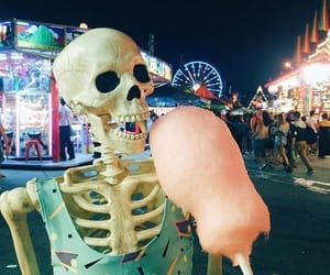 skeleton, cotton candy, and night image