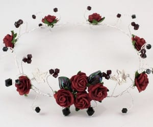 accessory, flower crown, and black image
