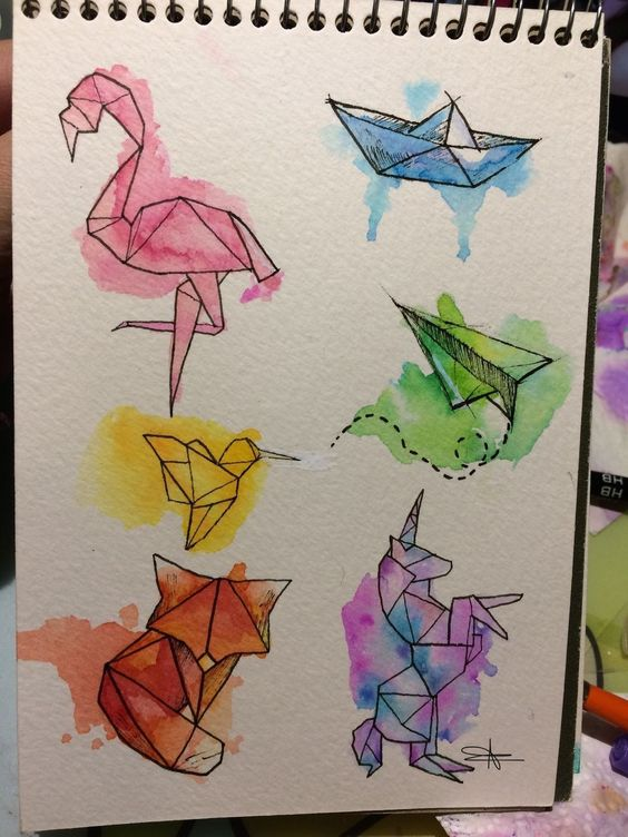 drawing and watercolor image