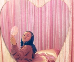 curtain, mirror, and pink image