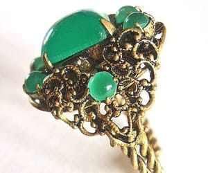 adjustable ring, glass cabochons, and brass filigree image