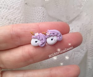 earrings, stud, and unicorn image
