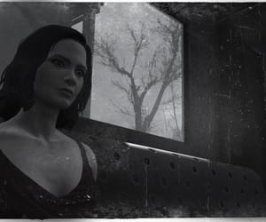 black and white, bus stop, and fallout 4 image