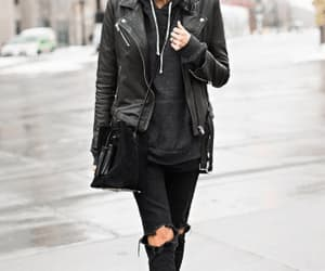 fall fashion, leather jacket, and all black image