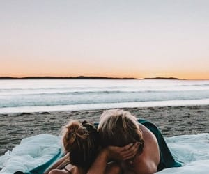 couple, beach, and sunset image