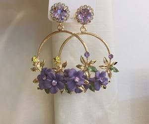 earrings, purple, and gold image
