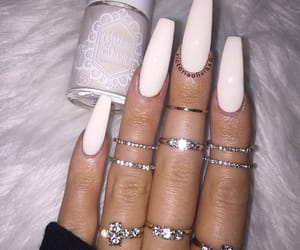 long nails, nails, and white nails image