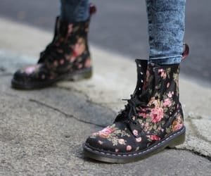 art, dr. martens, and flowers image