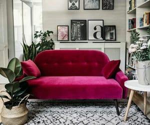 black, dark pink, and design image