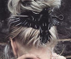 hair, black, and bird image