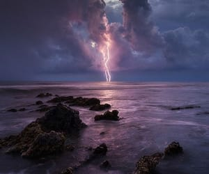 nature, sea, and lightning image
