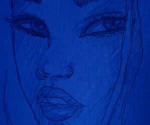 art, blue, and dark image