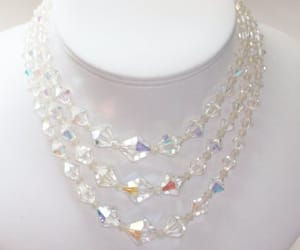 crystal beads, aurora borealis ab, and 3 strand necklace image