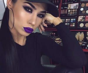 dark, makeup, and purple lipstick image