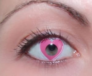 pink, heart, and eyes image