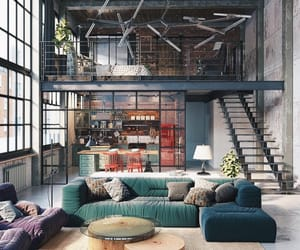 home, interior, and loft image
