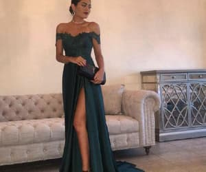 green prom dress, lace evening dress, and evening dress sexy image