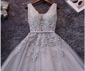 grey prom dress, v-neck homecoming dresses, and homecoming dresses v-neck image