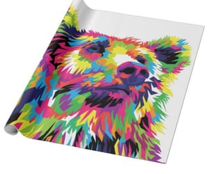 bear wrapping paper and rainbow wrapping paper image