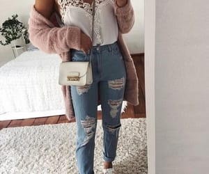 bag, cardigan, and denim image
