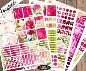 etsy, printable stickers, and pink peonies image