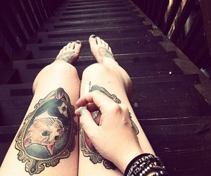 tattoo, cat, and legs image