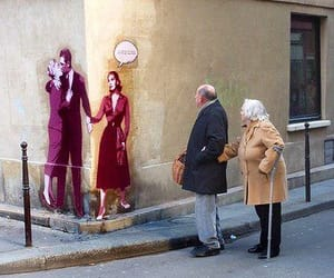 art, couple, and street art image