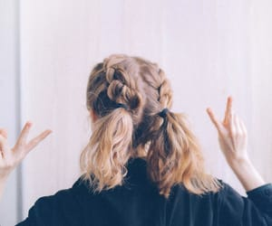 blond hair, fashion, and peace image