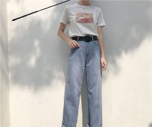 asian fashion, blue jeans, and casual image