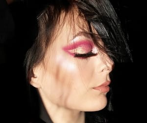 makeup, pink, and selfie image