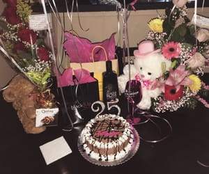 flowers, gift, and teddybear image