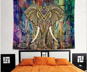 bedspread, elephant, and mandala image
