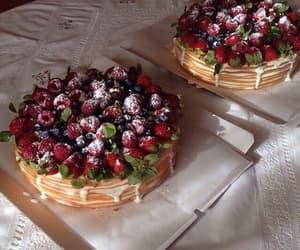 food, cake, and strawberries image
