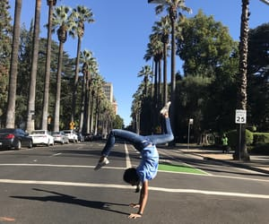 gymnastics, workout, and handstand image