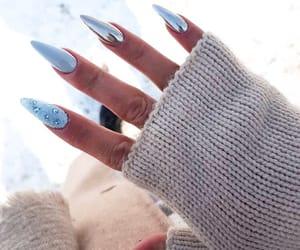 beauty, blue nails, and fashion image