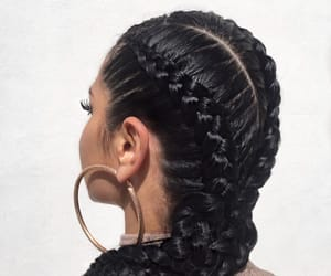 black hair, cornrows, and girl image