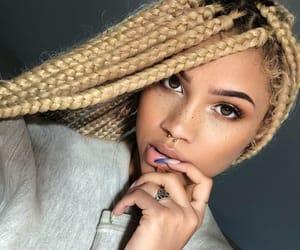 girl, make-up, and blonde braids image