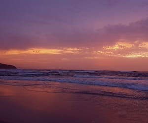 clouds, orange, and sea image