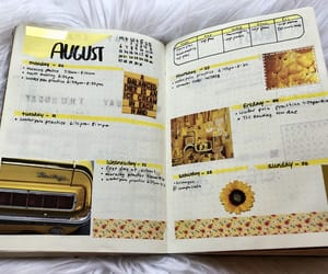 August, journal, and yellow image