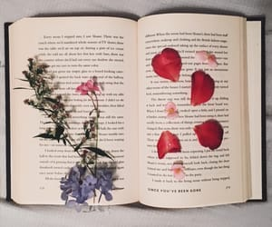 books, spring, and flowers image